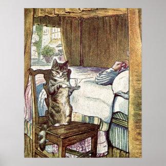 Póster Simpkin el gato sirve té