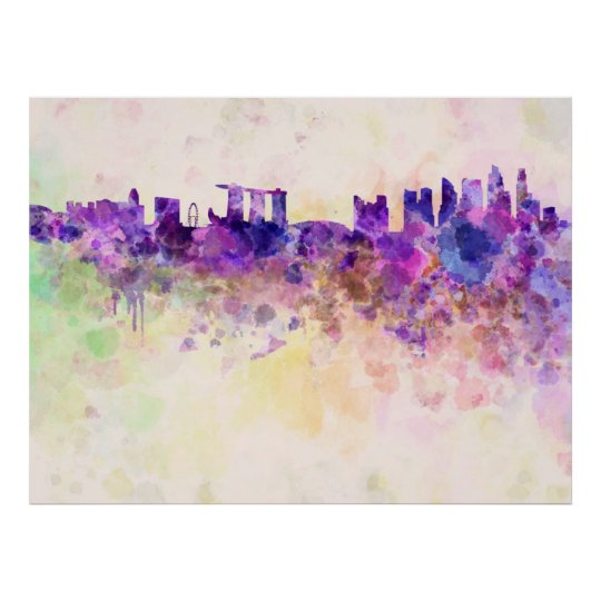 Póster Singapore skyline in watercolor background