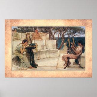Póster Sir Lawrence Alma-Tadema - Sappho y Alcaeus