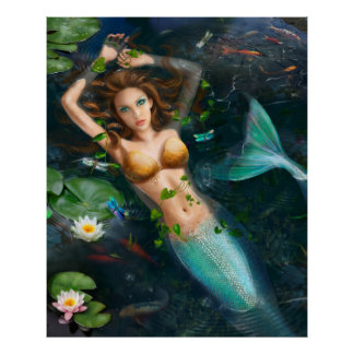 Póster Sirena Poster-Hermosa en el lago con los lirios