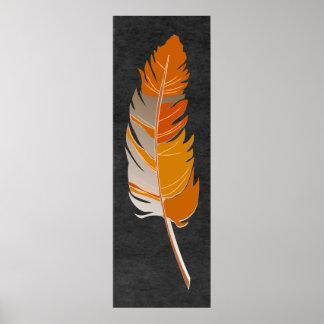 Póster Sola pluma - naranja rústico en la pizarra