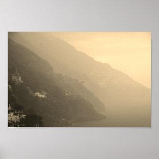 Póster Sombras de la costa costa de Amalfi
