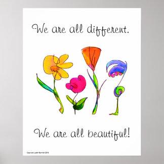Póster Somos todos diversidad diversa y hermosa