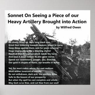 Póster Soneto de la artillería pesada de Wilfred Owen