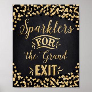 Póster Sparklers del Oro del negro del poster del boda