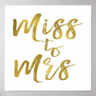 Póster Srta. a señora Bridal Shower Poster Banner