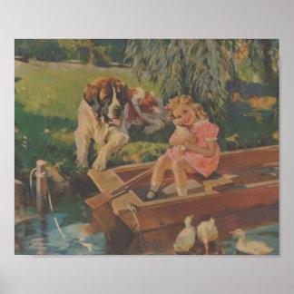 Póster St Bernard, patos, niña en barco