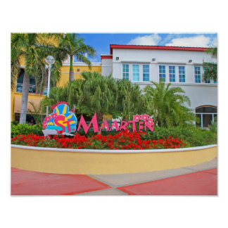 Póster St. Maarten, signo positivo, fotografía, holandesa