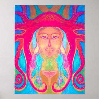 Poster subacuático de los pescados 60s del Hippie