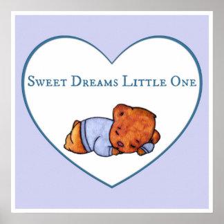 Póster Sueños dulces el pequeño - oso del muchacho