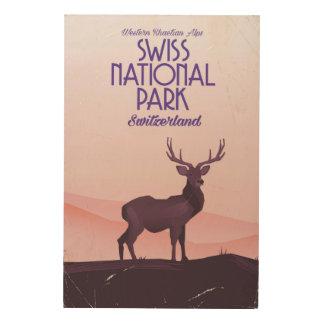 Poster suizo del viaje del vintage del parque impresión en madera