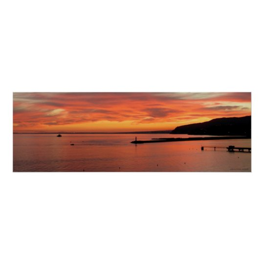 Póster Sunset Sea Poster, Lanscape of Almería Gulf
