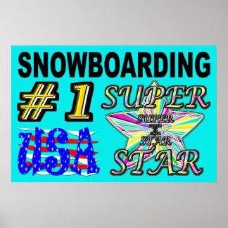 Póster Superestrella de la snowboard de los E.E.U.U. del