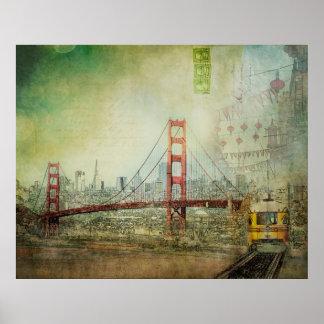 Póster Suspensión - poster del collage de puente Golden