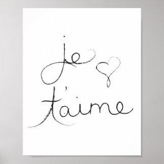 """Póster T'aime de Je - """"te amo"""" en inglés - poster"""