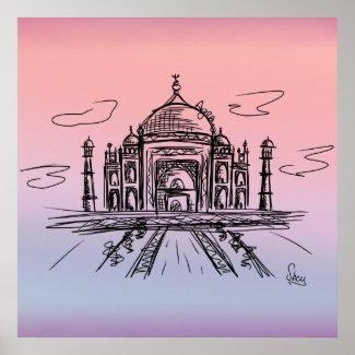 Póster Taj Mahal a color