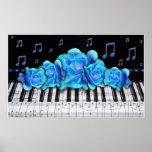 Póster Tamaño colosal de los rosas azules del teclado de