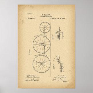 Póster Tándem de la bicicleta de 1890 patentes