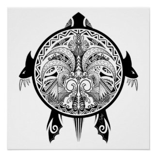 Póster Tatuaje tribal del escudo de la tortuga