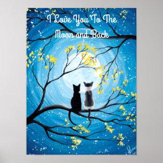 Póster Te amo a la luna y al gato trasero