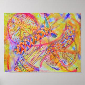 Póster Técnicas mixtas abstractas vivas