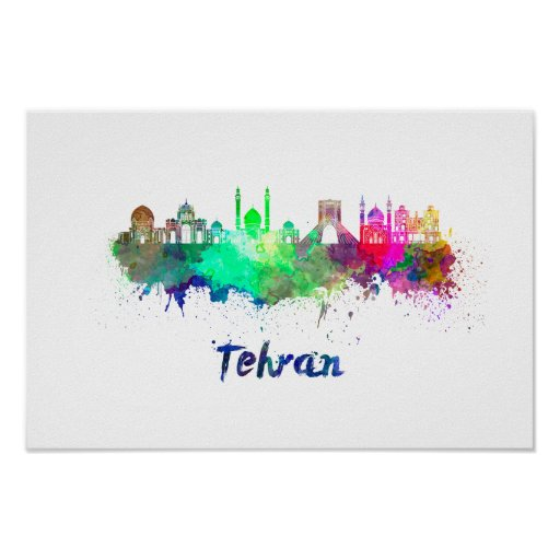 Póster Tehran skyline in watercolor