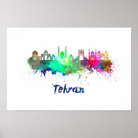Póster Tehran skyline in watercolor