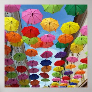 Póster Tejado de paraguas