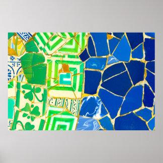 Póster Tejas verdes de Parc Guell del mosaico en