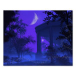 Póster Templo de Diana en el claro de luna