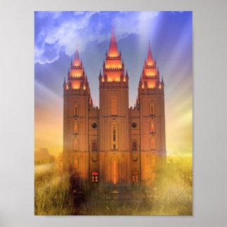 Póster Templo de Salt Lake con el poster de los rayos de