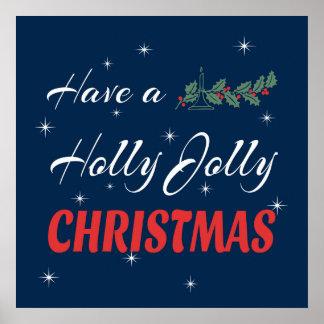 Póster Tenga navidad alegre de un acebo
