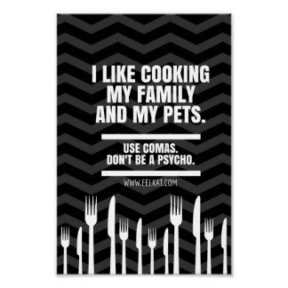 Póster Tengo gusto de cocinar mi familia y a los mascotas