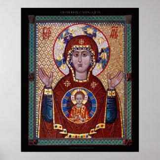 """Póster Theotokos """"icono del mosaico de la muestra"""""""
