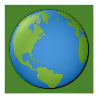Póster Tierra 3D clásico