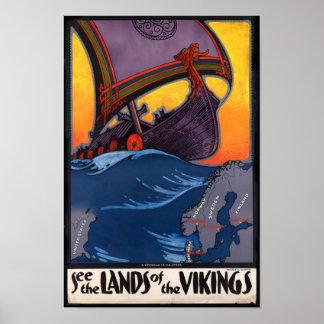 Póster Tierra del poster del vintage de Vikingos