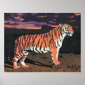 Póster Tigre en la puesta del sol