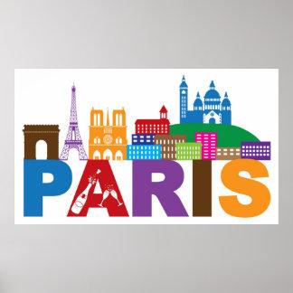 Póster Tipografía colorida de París, Francia el |