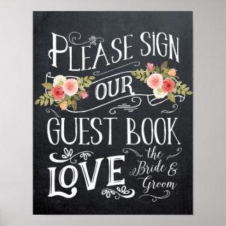 Póster tipografía de la muestra del boda del guestbook