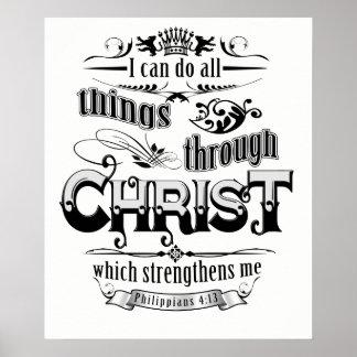 Póster Todas las cosas a través de la camiseta cristiana
