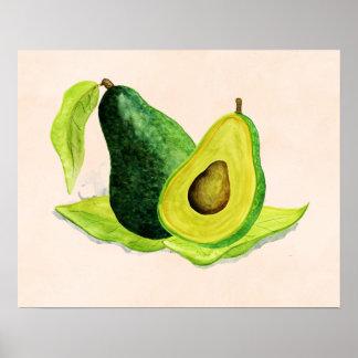 Póster Todavía del aguacate fruta verde de la vida en