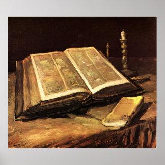 Póster Todavía vida con la biblia de Vincent van Gogh