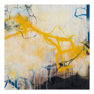 Póster Tormentas - expresionismo abstracto cuadrado