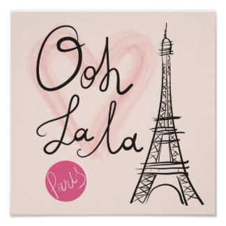 Póster Torre Eiffel dibujada mano