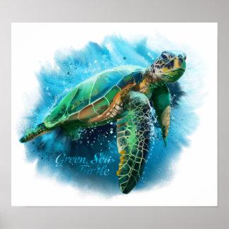 Póster Tortuga de mar verde