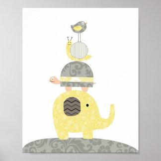 Póster Tortuga del pájaro de elefante del ilustracion del