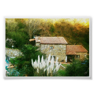 Póster Toscana, Italia. Casa rústica