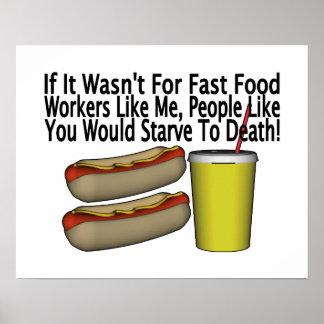 Póster Trabajador de los alimentos de preparación rápida