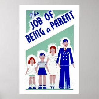 Póster Trabajo del vintage de ser un padre