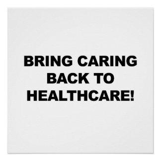 Póster Traiga cuidar de nuevo a atención sanitaria